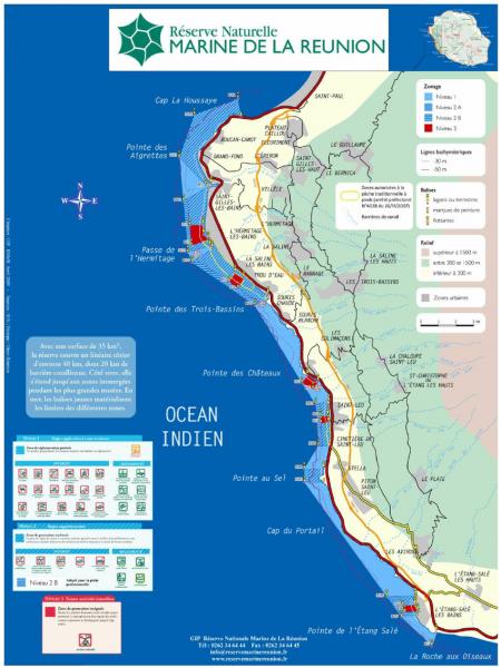 Carte de la Réserve Naturelle Marine de la Réunion